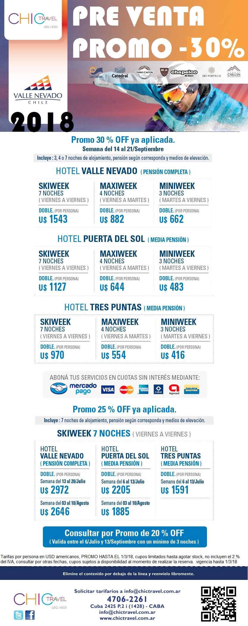 Valle Nevado Pre venta 30% OFF
