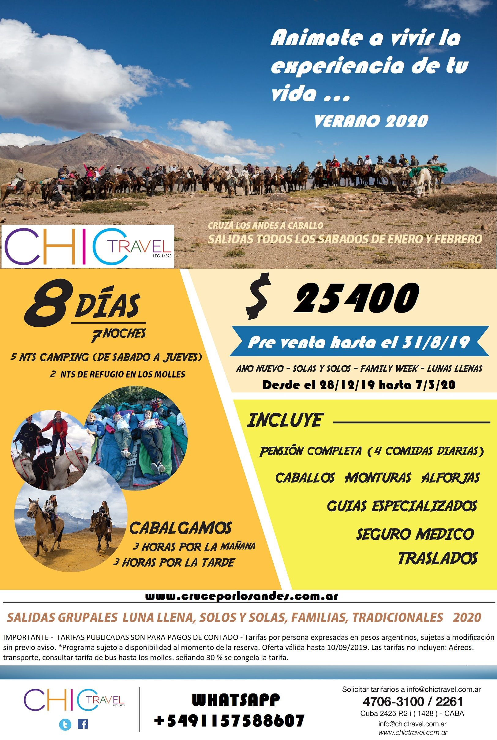 Cruce de los Andes a caballo verano 2020